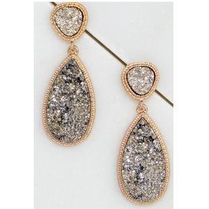 Silver Chunky Druzy Teardrop Earrings!